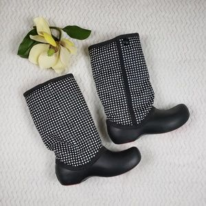 Crocs Claire Boots Black/White Polka Dots Size 10